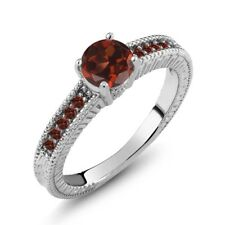 1.20 Ct Round Red VS Garnet 925 Sterling Silver Engagement Ring