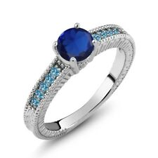 1.20 Ct Simulated Sapphire Swiss Blue Simulated Topaz 925 Sterling Silver Ring