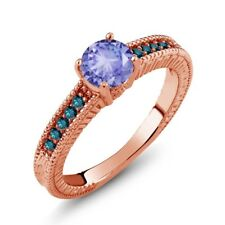 1.07 Ct Round Blue Tanzanite Diamond 14K Rose Gold Engagement Ring