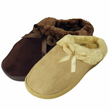 Womens Faux Suede Furry Comfort Slipper Ladies Mule Decorative Bow Slippers New