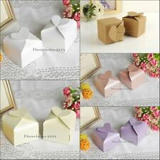 100* Wedding Heart  Box Love Shape Bomboniere Candy Boxes Wedding Baby Favor