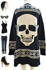 BLACK & Ivory Knit Open Front CARDIGAN with Metal SKULL Skeleton & ETHNIC Design