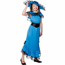Child Girls Victorian Lady Blue Costume Fancy Dress Up Role Play Party Halloween