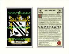 BRADSHAW Family Coat of Arms Crest + History - Available Mounted or Framed