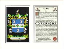 COOK Family Coat of Arms Crest + History - Available Mounted or Framed