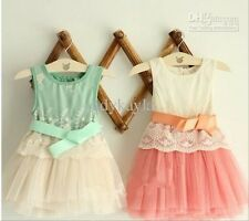 (Summer Fashion Flower Green Color Girl's Baby dress Lace Girl's dresses)