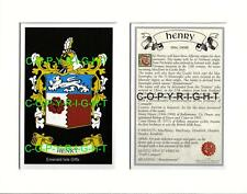 HENRY Family Coat of Arms Crest + History - Available Mounted or Framed