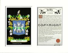 KELLY Family Coat of Arms Crest + History - Available Mounted or Framed
