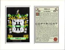 MILLS Family Coat of Arms Crest + History - Available Mounted or Framed