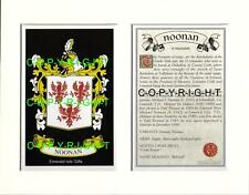 NOONAN Family Coat of Arms Crest + History - Available Mounted or Framed