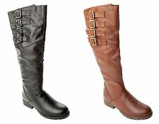 WOMENS BIKER RIDING STYLE LOW FLAT HEEL KNEE HIGH BOOTS LADIES UK SIZE 3-8