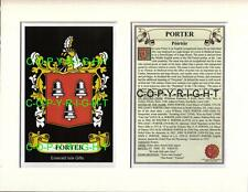 PORTER Family Coat of Arms Crest + History - Available Mounted or Framed