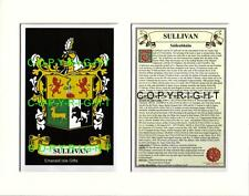 SULLIVAN Family Coat of Arms Crest + History - Available Mounted or Framed