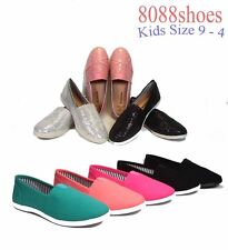 Youth Girls Kids Cute Causal Slip On Flat Heel Round Toe Color Shoes Size 9 - 4