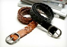 Men's casual leather braided design simple black and brown belt