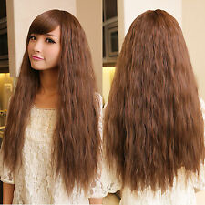 Vogue Women's Long Wavy Curly Full Hair Wigs Cosplay Party Brown Fluffy Wig New