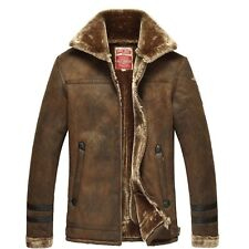 fashion Men's winter coat warm leather lapel thick wool overcoat/Fur Coat jacket