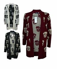 New Womens Ladies PLUS SIZE Skull Print Long Sleeve Knitted Cardigan Jumper