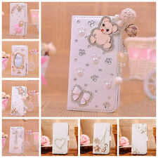Bling Diamond Flip Magnetic PU Leather Wallet Case Cover for iPhone 5 5S + Gifts