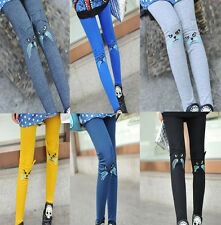 7Colors Women Girls Cute Fashion Embroidery Cat Leggings Stretch Tights Pants
