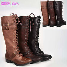 Soda Low Flat Heel Buckle Riding Knee High Zipper Boot Shoes Size 6-11 Black Tan