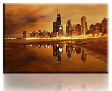 Wall Art Canvas Picture Print of Chicago Nights Framed Ready to Hang