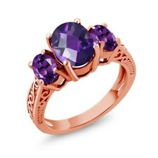 2.50 Ct Oval Checkerboard Purple VS Amethyst 14K Rose Gold 3-Stone Ring