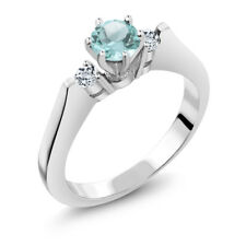 0.86 Ct Round Sky Blue and White Topaz 925 Sterling Silver 3-Stone Ring