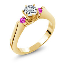 0.76 Ct White Topaz Pink Sapphire 925 Yellow Gold Plated Silver 3-Stone Ring