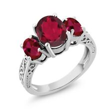 3.66 Ct Oval Red Mystic Quartz Red Created Ruby 14K White Gold 3-Stone Ring