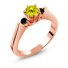 0.68 Ct Round Canary and Black Diamond 925 Rose Gold Plated Silver 3-Stone Ring