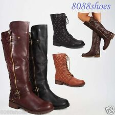 Low Heel Zipper Quilted Buckle Dress Mid-Calf Knee High Boot  Shoes 6 - 11 NEW