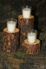 Rustic Log Candle Holders - Primitave, Country, Log Cabin, Lodge, Western Decor