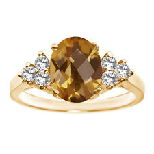 1.33 Ct Oval Checkerboard Champagne Quartz 14K Yellow Gold Ring