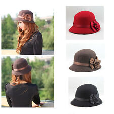 Vintage Women Ladies Fedora Hat Rose Flower Cloche Bucket Cap Headwear Fashion