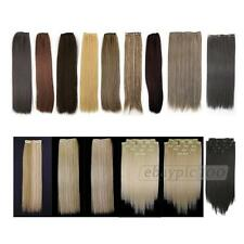 8 Pcs Straight Full Head Clip In On Synthetic Hair Weft Extensions