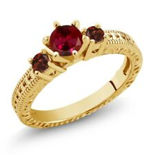 0.84 Ct Round Red Created Ruby Garnet 18K Yellow Gold Plated Silver 3-Stone Ring