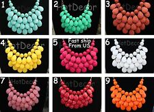 US Seller Fashion Teardrop Statement Bubble Bib necklace for girls jewelry gift