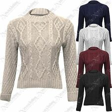 NEW WOMENS LADIES CROP CABLE KNITTED JUMPERS LONG SLEEVE THICK KNIT SWEATER TOPS