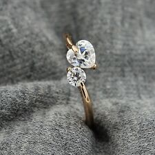 18k Rose Gold GP Use Swarovski CZ Crystal 6mm Heart  Ring