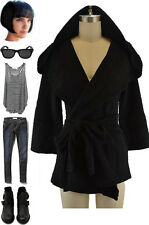 Comfy CHIC TEXTURED BLACK HOODED SLOUCHY Wrap Cardigan JACKET w/ Attached Belt