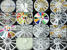 Nail Art Decoration Pearl / Crystal Glitter / Silver Rhinestones + Wheel #056XX