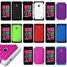 For Nokia Lumia 521 - Hard & Soft Rubber Hybrid Diamond Bling Fitted Skin Case