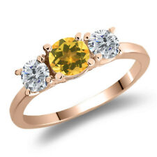 0.95 Ct Round Yellow Citrine G/H Diamond 925 Rose Gold Plated Silver Ring