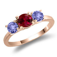 1.20 Ct Round Red Created Ruby Blue Tanzanite 925 Rose Gold Plated Silver Ring