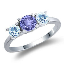 1.12 Ct Round Blue Tanzanite Sky Blue Topaz 925 Sterling Silver 3-Stone Ring