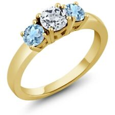 1.04 Ct Round White Topaz Sky Blue Aquamarine 925 Yellow Gold Plated Silver Ring