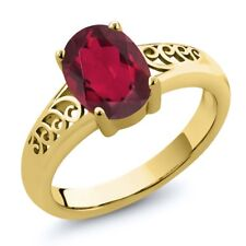 1.80 Ct Oval Red Mystic Quartz 18K Yellow Gold Plated Silver Ring