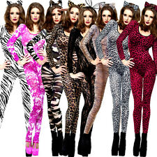 Sexy Body Stocking Bodysuit Catsuit Animal Print Camo Lace Fancy Dress Costume
