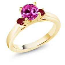 1.28Ct Pink Created Sapphire Red Ruby 18K Yellow Gold Plated Silver 3-Stone Ring
